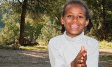 12-year-old Ethiopian girl from Tzahal Absorption Center at a Lag BOmer bonfire, celebrating both the holiday and her upcoming bat mitzvah
