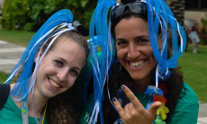 Two shlichim having fun between training sessions at Kibbutz Shfayim, in preparation for heading out to summer camps across North America