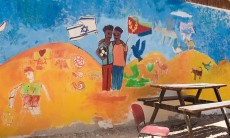Wall mural at Tikkun Olam, the school and boarding facility for Eritrean refugees at The Jewish Agencys Nitzana Educational Eco-Village