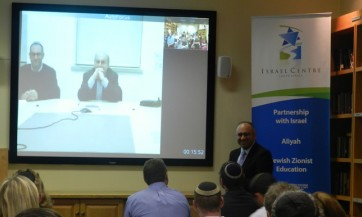 Natan Sharansky addresses Educators via video conferencing at an Educator Cocktail event hosted by the Israel Centre