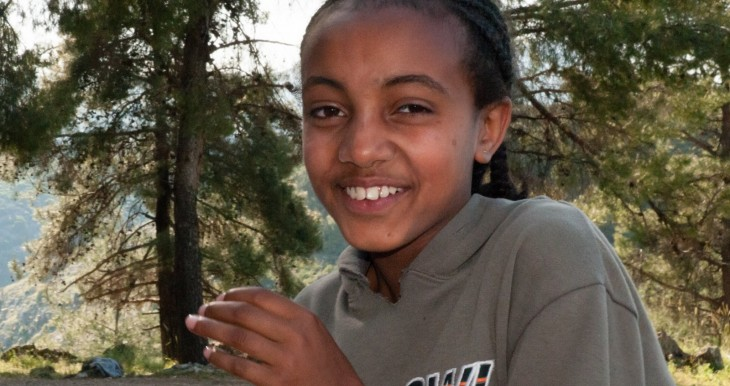 12-year-old Ethiopian girl from Tzfat merkaz klita (absorption center), at a pre-Lag BOmer bonfire, celebrating both the holiday and her upcoming bat mitzvah