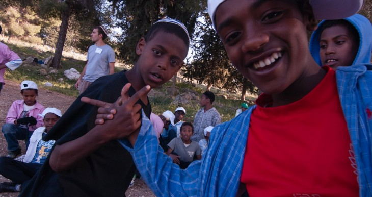 12-year-old Ethiopian youth from Tzfat merkaz klita (absorption center) and their counselor at pre-Lag BOmer activities, celebrating both the holiday and their upcoming bar mitzvahs