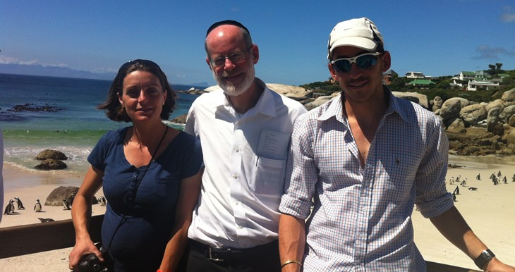 Shlomit Simantov, Moshe Lichtenstein and Amir Alfie enjoying the penguins and the view at Boulders Beach, Cape Town