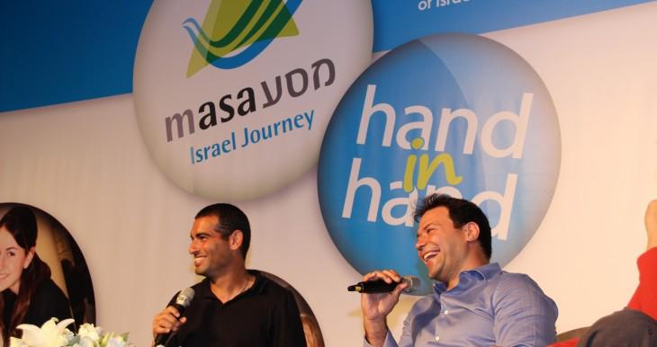 Outstanding Israeli sportsmen, Andi Ram and Arik Ze'evi address Masa Israel Journey participants at the event at the Jerusalem International Convention Center