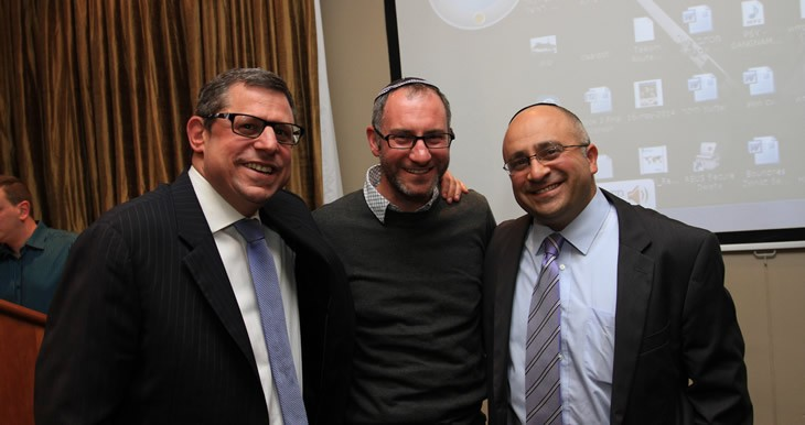 Avrom Krengel (Chairman SAZF), Rabbi Craig Kacev (Director of SABJE) and Shimon at Shimons Farewell Party