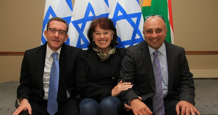 Harold Jacobs (Vice Chairman SAZF), Bev Goldman (SAZF) and Shimon Shamila at Shimons Farewell
