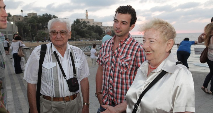 Árpád, Balázs, and Yehudit in Jaffa on the last day of the Intergeneration tour around Israel