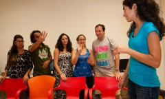 Onward participants take part in a leadership-building activity in Haifa