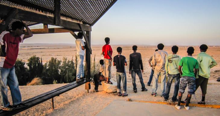Students at Nitzana looking off into the desert