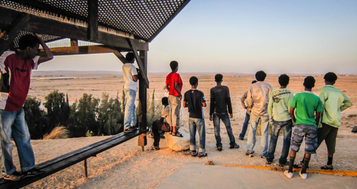 Students at Nitzana looking off into the desert