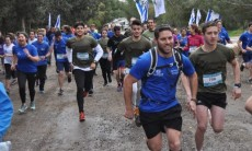 Gilad Shoham and others from Kol Ami Kiryat Yearim at a race supporting lone soldiers.