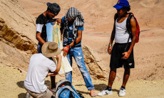 Students at Nitzana on a desert hike